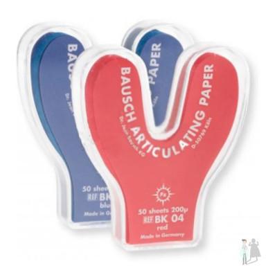 Артикуляционная бумага подковообразная bk 03 (синяя) bk 04 (красная) Bausch 200мкм 50шт