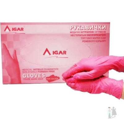 Розовые нитриловые перчатки Igar