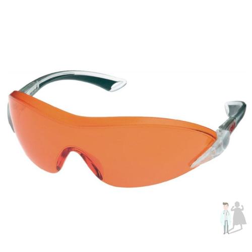Очки защитные 3M 2846 открытые для работы с полимерной лампой красно-оранжевые