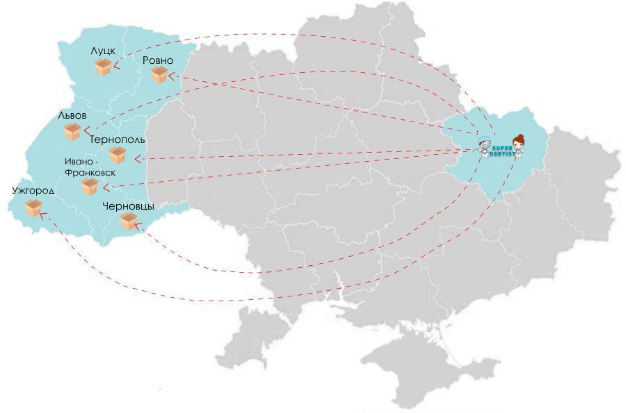 Доставка стомат расходников во Львов, Ужгород, Ивано-Франковск, Тернополь, Черновцы